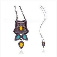 New 2014 Necklace Fashion Women Semi-precious Stone Drop Shaped Stone Alloy Necklace Design Long Pendants Vintage Black