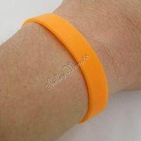 1x Orange Silicone Rubber Bangle Elastic Belt Soft Sport Cuff Bracelet Solid