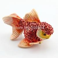 Free Shipping Full Diamond fish shape metal trinket box new year gifts