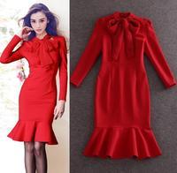Best Quality!New Fashion Spring Dress 2015 Women Elegant Bow Collar Long Sleeve Red Dress Mid-Calf Length Sexy Mermaid Dress