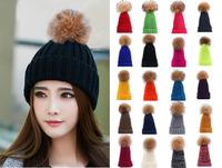 Women's Winter Warm Crochet Genuine Fur Ball Knitting Hats Beret Ski Beanie Caps