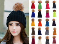 Women's Winter Warm Crochet Genuine Fur Ball Knitting Hats Beret Ski Beanie Caps