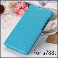 Wholesale 10pcs Genuine Leather Case For Lenovo A788T Flip Leather Case Cover Wallet Leather For Lenovo a788t Free Shipping