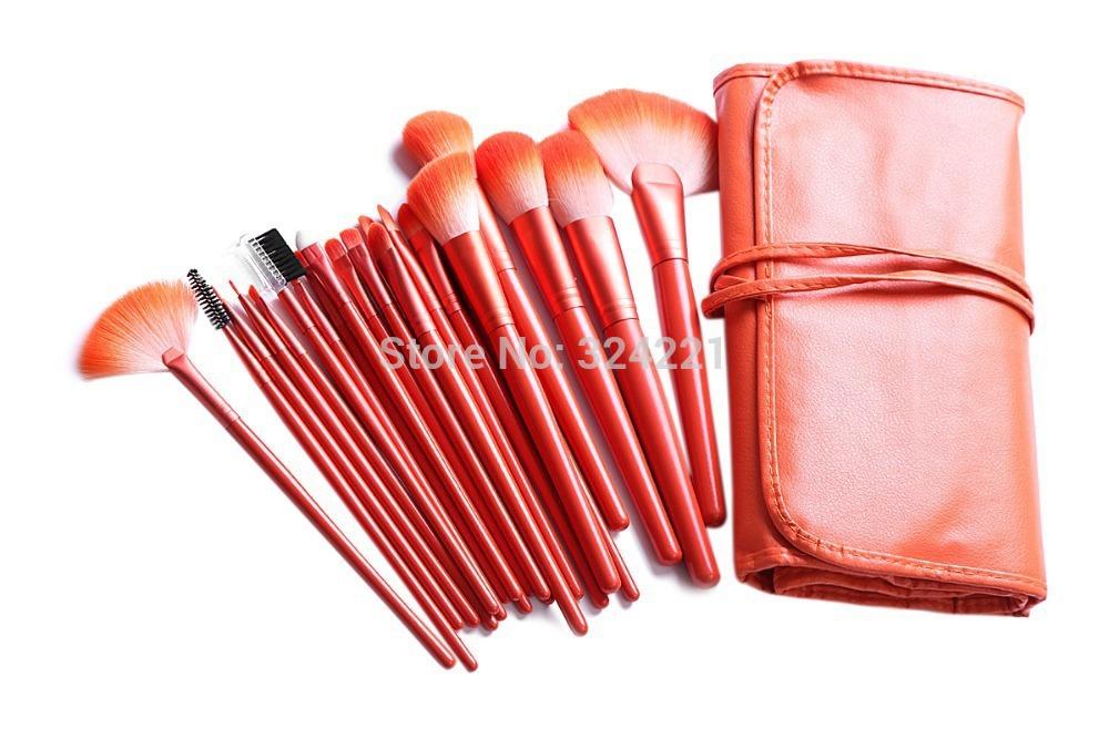 New Arrival Orange Color Make up Brushes 24 pcs Natural Hair Makeup Brush set Facial Cosmetics brushes Free Shipping(China (Mainland))