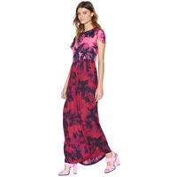 Pink petals watercolor ink color printing short-sleeved long dress