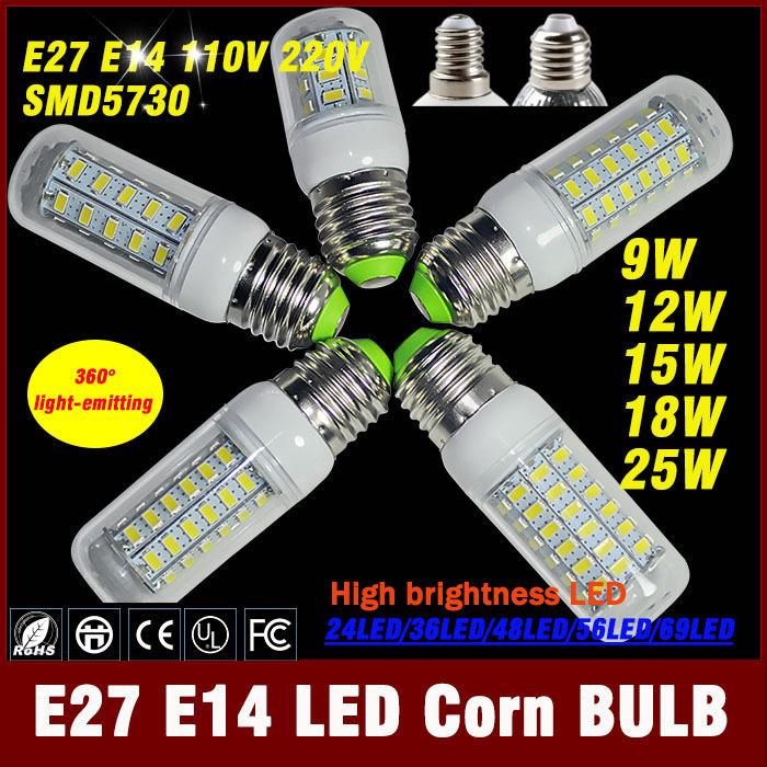 1pcs/lot lampadina led di mais 7w 15w 12w 20w 25w e27 e14 led lampade a bulbo ac 220v ultra luminoso 5.730 led smd lampadina di mais lampadario