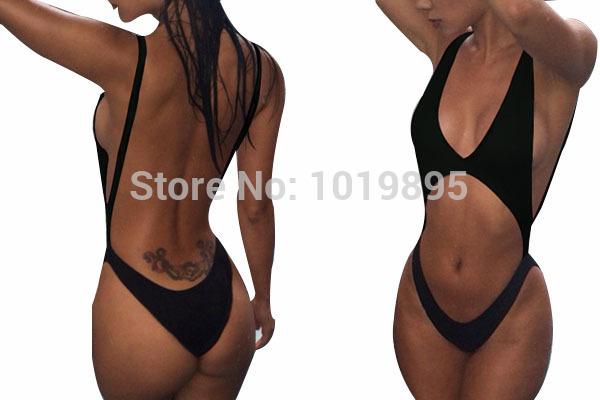 Black Shoulder Strap Monokini Thong One Piece Swimsuit 2015 High Waist Swimwear Women Bandage Bodysuit Sexy Biquini Bathing Suit(China (Mainland))