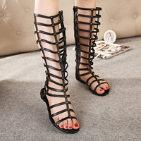 2014 cool boots female flat strap belt genuine leather fashion sandals female
