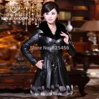 hot-selling 2014The high quality genuine leather clothing fox fur sheepskin women's slim plus cotton  women's coat