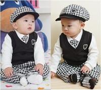 Spring baby boy clothing sets 2015 new Vest Tie Shirt pants 4 pcs newborn clothes cotton casual clothing roupas de bebe meninos