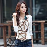2014 spring and autumn women's basic shirt slim print chiffon blouse cotton t-shirt female long-sleeve clothing