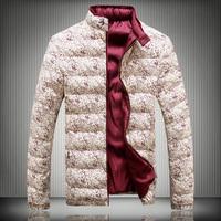 New Designer 2014 Men Winter Fashion Down Cotton Jackets Black / red Plus Size M-3XL 4XL 5XL Man Thick Warm Coats 399