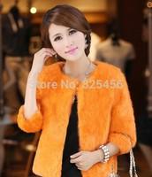 hot-selling 2014 fur coat three quarter sleeve women's short design rabbit fur raccoon fur Free shipping