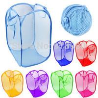 Lanudry Wash Bag/ 6 Colors Fashion Folding Reinforced nylon mesh Storage Basket For Cloth /CTW