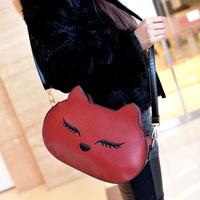 Woman leather handbag fashion pu Handbags2014 spring new cute cat holding a small bag diagonal shoulder bag Korean female bag in