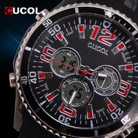 CUCOL Brand Mens Watches Top Brand Luxury Wristwatches Male Quartz Clock Rubber Strap Men's Digital Watches Reloj Hombre