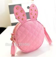 Cartoon Cute Bunny Ears Mini Bag Quilted Shoulder Messenger Bag Fashion Woman Rivets Round Packet Pink Black Handbags