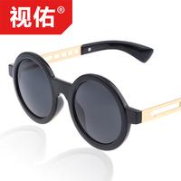 Mirror 2014 women's vintage sunglasses circle box anti-uv
