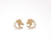 MIn 1pc Gold/ Silver / Rose gold Plated Mini Roaring Lion/Tiger Shape Tiny Lion/Tiger Studs Earrings ED065