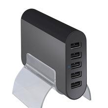 Universal 5V 10A smart 50W 5-Port Family-Sized USB Desktop Charger for Apple Samsung Tablets and Smartphones