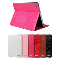 Fashion Design Crocodile Pattern Case For Apple iPad 6 With Stand Sleep Tablet PC Case Leather Cover+screen guard For iPad Air 2
