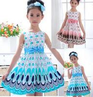 2014 Girls Dress cute peacock color sleeveless princess dress circle Korean Fashion children clothes Free shipping