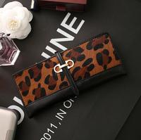 New arrival Leopard horsehair thin wallet fashion 982-1 lady wallets female purse money bag purse fashion