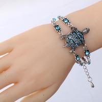 Wholesale Fashion Hot Sale  Vintage Retro Style Crystal Bangle Jewelry Tortoise Women Chain Bracelet Tibetan Silver