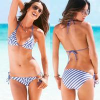 2015 New Fashion Women Striped Printed Triangle Bikini Swimwear Summer Sexy Pink and Blue Beach Swimsuit Bathing Suit