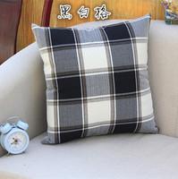 Cotton Linen Black Prnted Cushion Cover for Sofa Gray Morden Nonwoven Square Plaid Pillow Case Home Decoration Wholesale