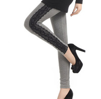 A188 womens sides cotton lace stitching lace leggings Slim thin pantyhose lengthened legging 260g