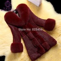 Hot-selling 2014 ultralarge fox fur High quality rabbit fur coat medium-long women's Free shipping