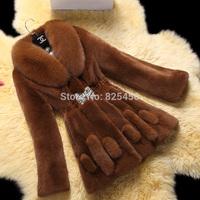 Hot-selling The new 2014 rex rabbit fur coat fox collars fur coat  Free shipping