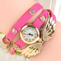 2014 women watches Weave Wrap Rivet Leather Colorful Vintage Bracelet wristwatches
