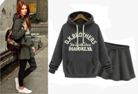 Free shipping 2014 women autumn winter thick hoodies crop top and skirt 2pcs set women'casual suit l1405