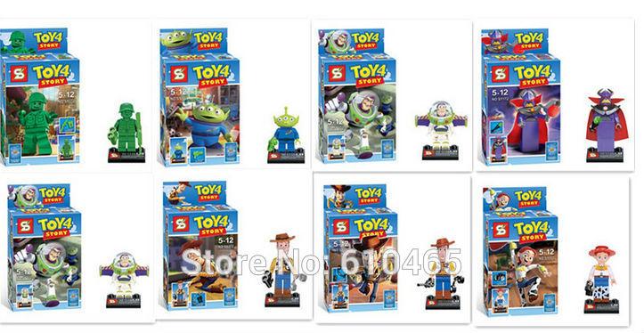 8pcs/lot Baby toys SY172 toy4 story Mr Potato Head Jessie Woody Buzz enlighten Building bricks block Minifigures Classic Toys(China (Mainland))