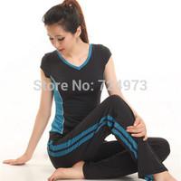 Outdoors slim fit women breathable yoga tracksuits,female gym jogging suits elastic design/hot sale women sport suit brand