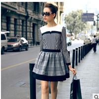 Free shipping 2014 women autumn winter dresses plaid o-neck ball gown full sleelev dress l1403