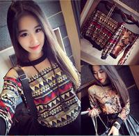 2015 New Fashion Retro Print Long Sleeve Mesh Round Neck T-shirt Ladies Loose Tees Tops TNST080