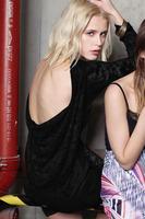Winter Formal Black Blue Lace Crochet Vintage Cocktail Party Dress Backless Long Sleeve E21776 Femininas Vestidos De Renda Mini