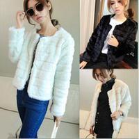 Good Quality Autumn/winter women's coats solid plush tiny outwear white black apricot cardigan fashion tops cotton short style