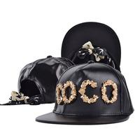 Hat for women snapback cap Black hip hop baseball caps /hats for men imitation leather black baseball-caps metter M  YJC-F357