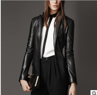 Free shipping 2014 fashion women PU leather jackets women's leather blazers single breasted clothing l1275