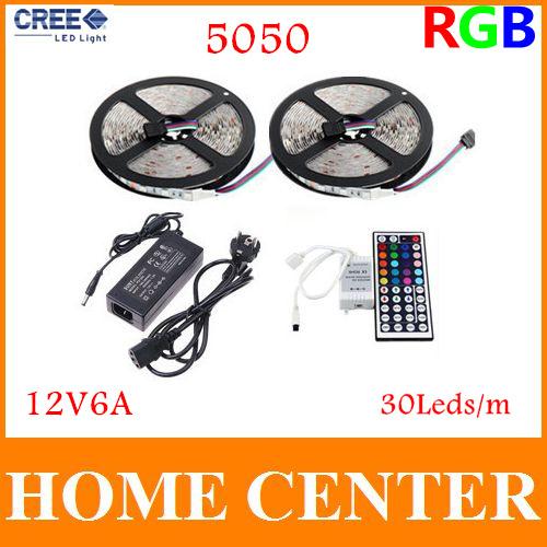 10M 5050RGB 300Leds Led Strips light 30Leds/m and 44Key IR Controller and 12V6A Power supply EU/US/AU/UK with tracking number(China (Mainland))