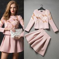 Free shipping 2014 fashion women autumn winter cotton crop top and skirt 2pcs set women'casual suit l1406