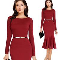 Plus Size S-XXL 2014 Hot Fashion Autumn Winter Women Vintage Red Mermaid Belt Pencil Celebrity Bandage Bodycon Evening Dresses