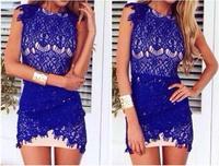 sexy cute Irregular hollow sleeveless eyelash blue lace dress vestido de renda azul vestido azul renda vestidos femininos