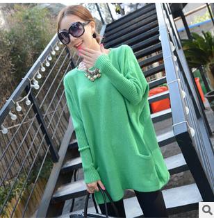 2014 Winter Women Korean Shopping fashion small pocket long section bat sleeve sweater angora JY472(China (Mainland))