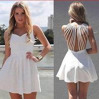 Plus Size Casual Women Chiffon Dress Sexy Backless Sleeveless Pleated Mini Dress Summer Fashion Girl White Vestidos De Festa