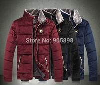 2015 new arrive fashion slim men's jacket Casual Velvet Fur collar men's coat mens clothing plus size cotton coat red 3512